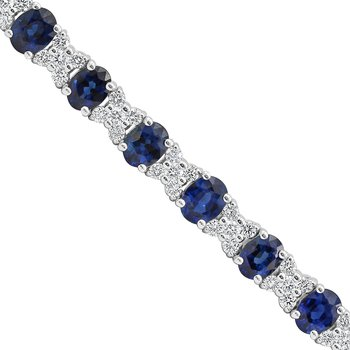 White Gold Blue Sapphire and Diamond Bracelet