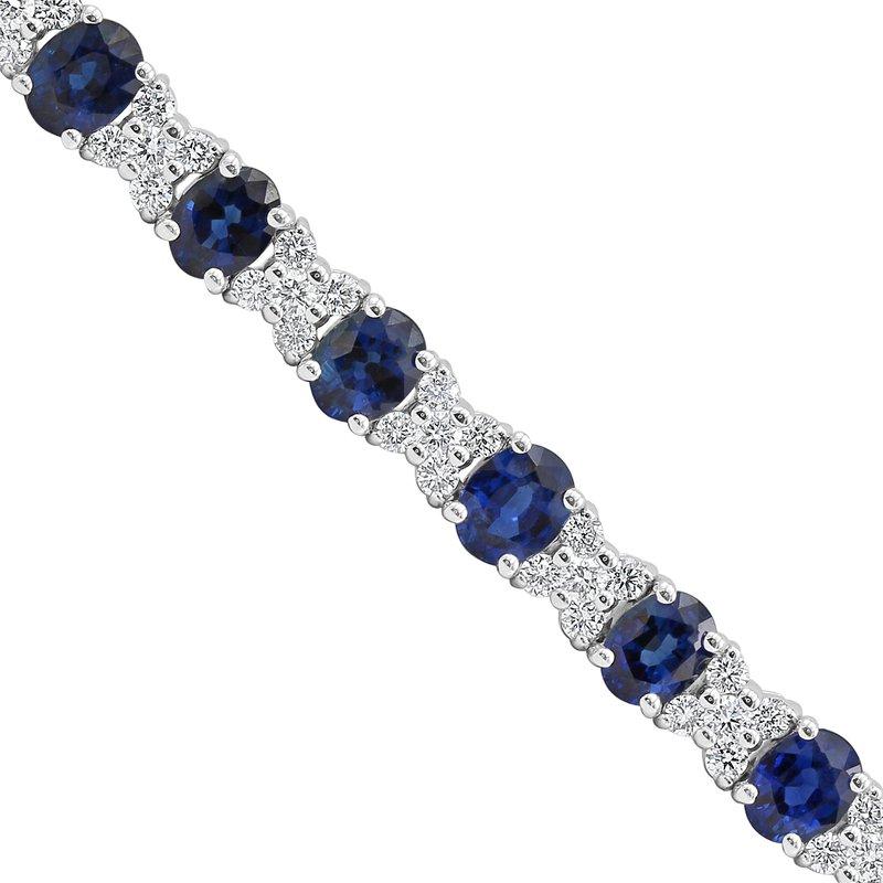 Samuel Sylvio Designs White Gold Blue Sapphire and Diamond Bracelet