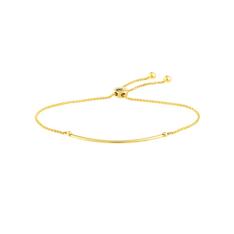 Devon Fashion Yellow Gold Thin Curve Bolo Bracelet