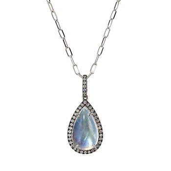 White Gold Rainbow Moonstone Pendant with Diamonds
