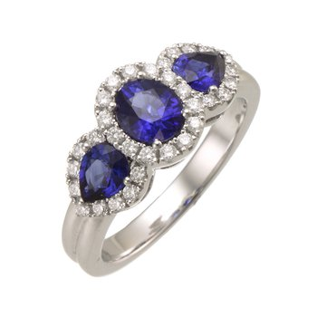 White Gold 3-Stone Sapphire and Diamond Halo Ring