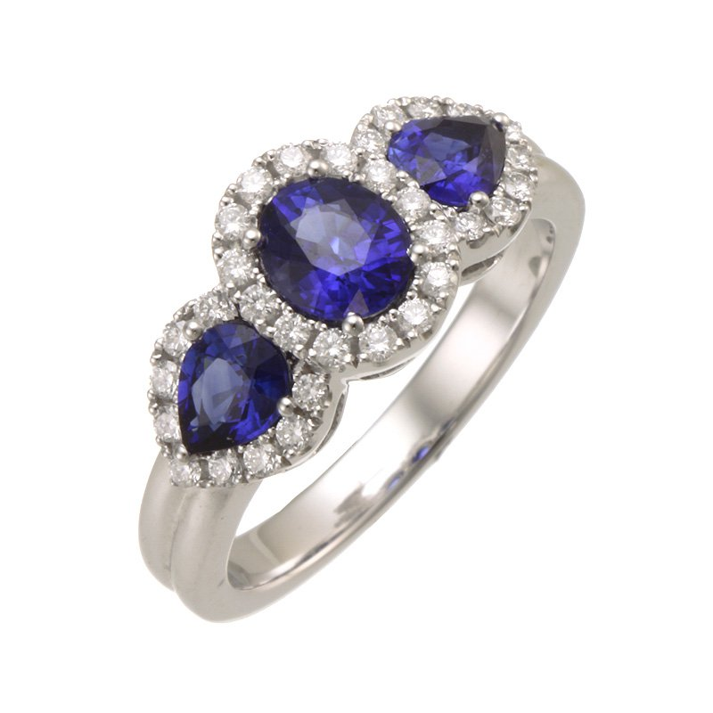 Devon Fashion White Gold 3-Stone Sapphire and Diamond Halo Ring