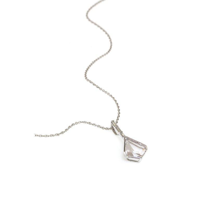 Devon Original White Gold Morganite and Diamond Drop Pendant w