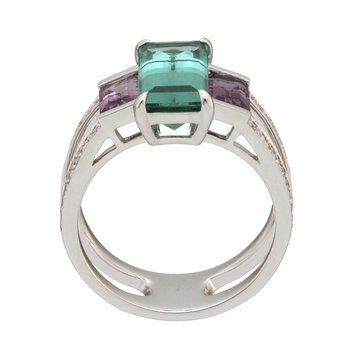 White Gold Blue Tourmaline and Violet Spinel Ring with Diamonds