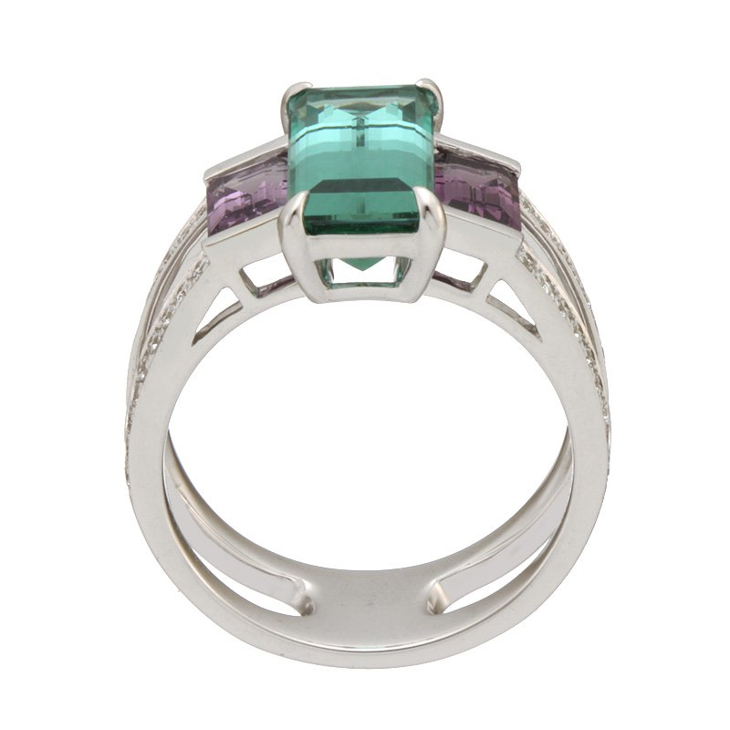 Devon Original White Gold Blue Tourmaline and Violet Spinel Ring with Diamonds