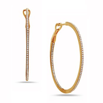 Yellow Gold Delicate Diamond Hoop Earrings