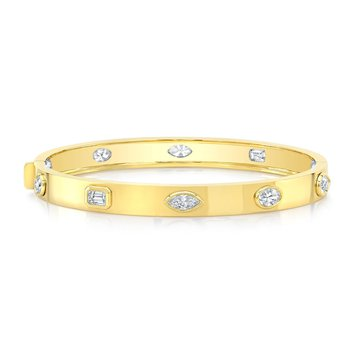 Yellow Gold Mixed Shape Diamond Bangle