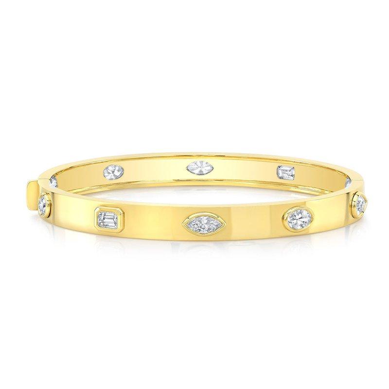Norman Silverman Yellow Gold Mixed Shape Diamond Bangle