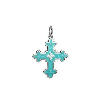 Sterling Silver Byzantine Cross Enamel Pendant
