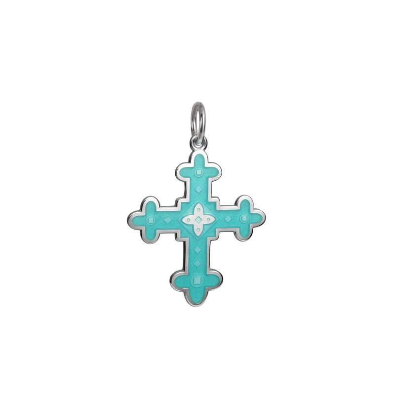Colby Davis  Sterling Silver Byzantine Cross Enamel Pendant