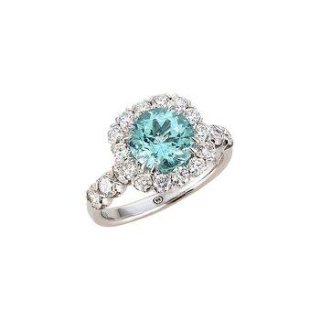 White Gold Paraiba Tourmaline and Diamond Ring
