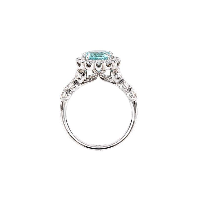 Devon Fashion White Gold Paraiba Tourmaline and Diamond Ring
