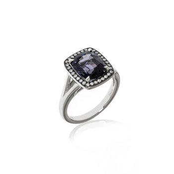 White Gold Grey Spinel and Diamond Ring