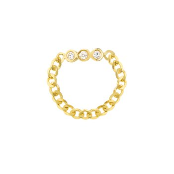 Yellow Gold Chain Ring with Diamond