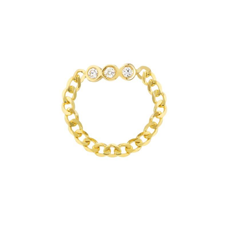 Devon Fashion Yellow Gold Chain Ring with Diamond