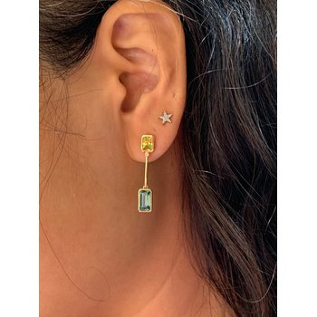 Yellow Gold Blue and Canary Tourmaline Earrings