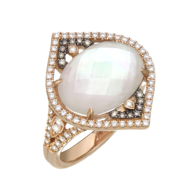 Devon Fashion Rose Gold Mother of Pearl and Diamond Ring