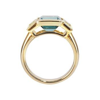 Yellow Gold 3-Stone Tourmaline Ring