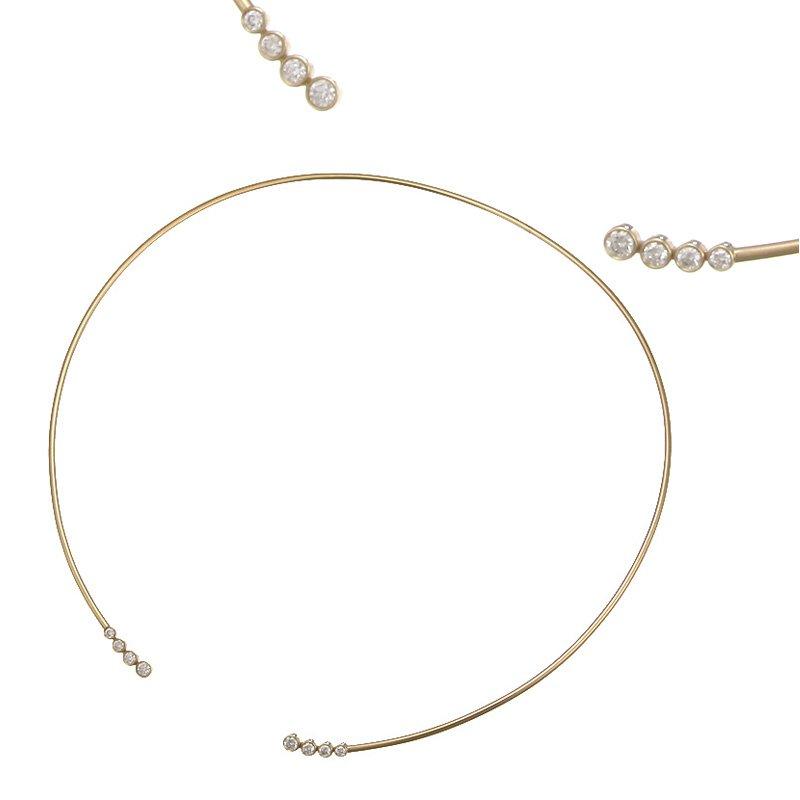 Devon Fashion Yellow Gold Neck Wire with Diamonds