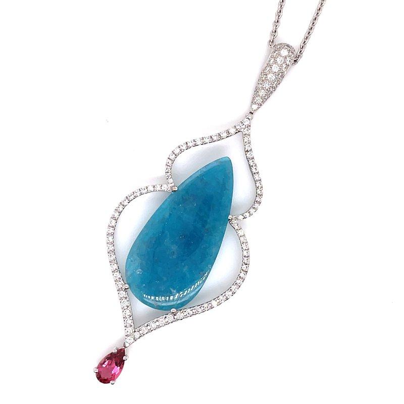Samuel Sylvio Designs White Gold Paraiba Matrix Pendant with Diamonds and Pink Sapphire
