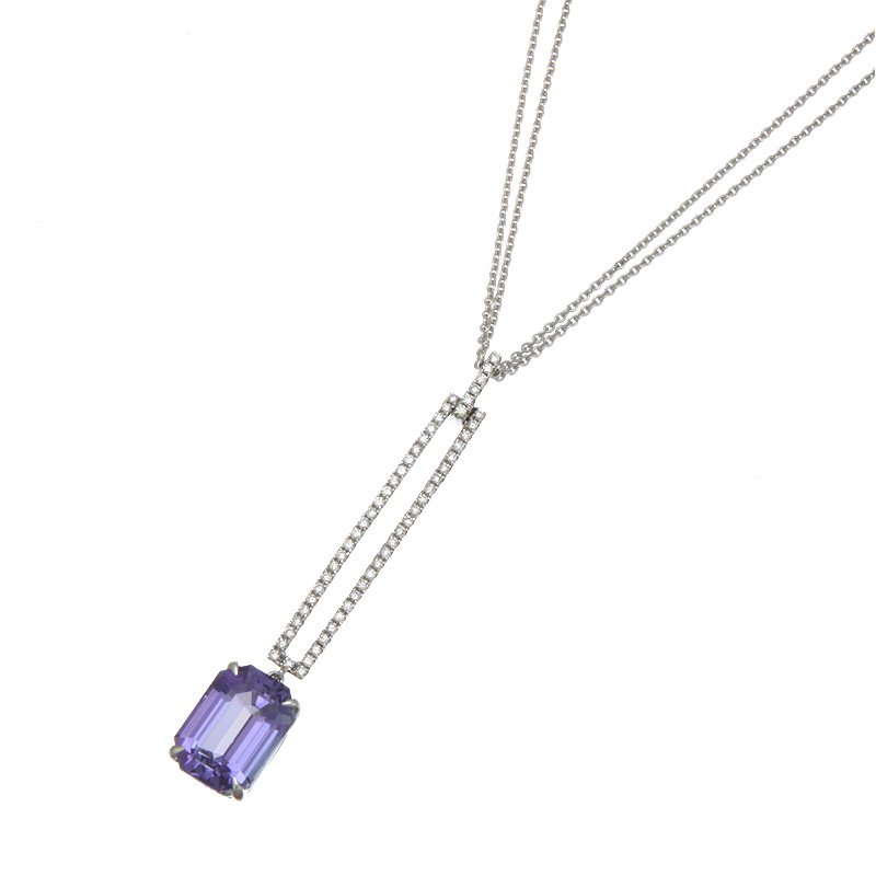 Devon Original White Gold Tanzanite and Diamond Vertical Bar Pendant
