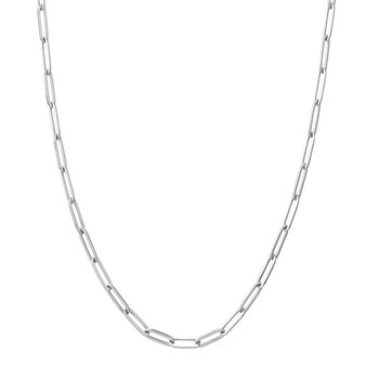 White Gold Paperclip Necklace