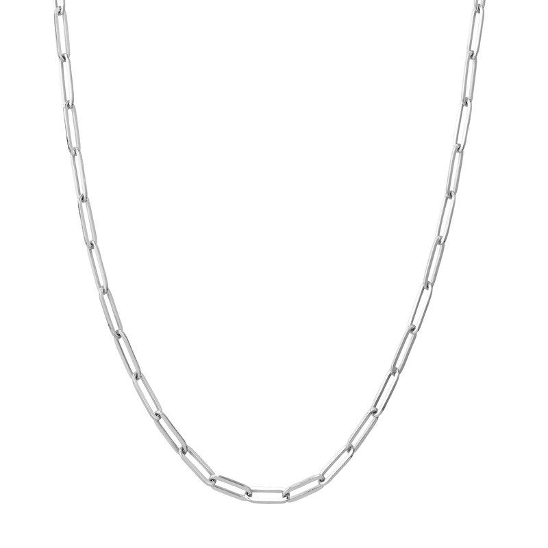 Devon Fashion White Gold Paperclip Necklace