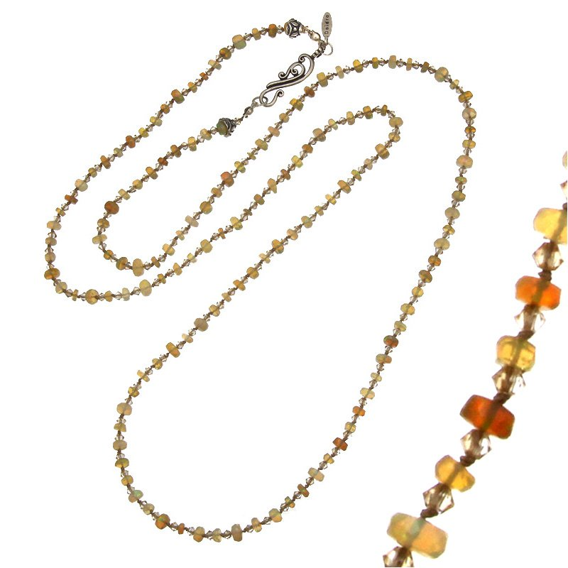 Daidra Designs Long Silk Necklace with Opals and Crystal Beads