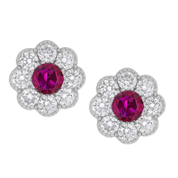 White Gold Ruby and Diamond Flower Earrings
