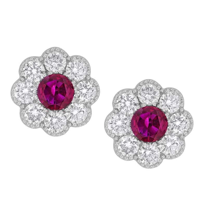 Spark Creations White Gold Ruby and Diamond Flower Earrings