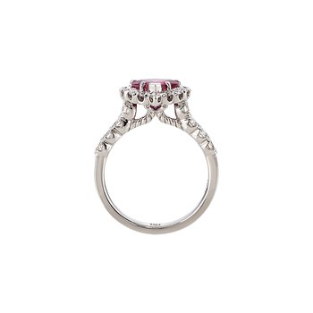 White Gold Heart Shape Pink Tourmaline Diamond Ring