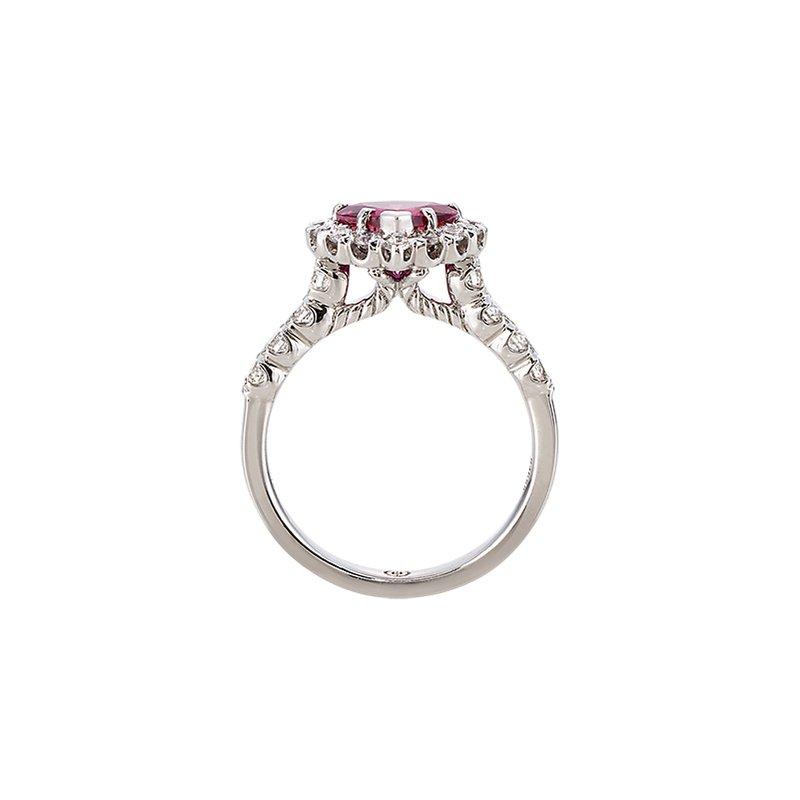 Christopher Designs White Gold Heart Shape Pink Tourmaline Diamond Ring