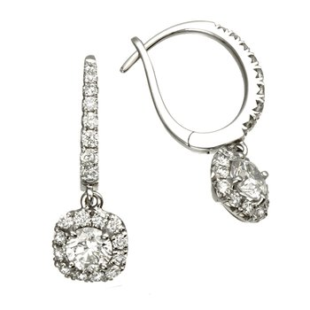 White Gold Diamond with Cushion Halo Dangle Earrings