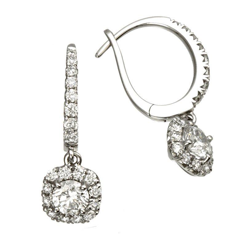 Devon Fashion White Gold Diamond with Cushion Halo Dangle Earrings