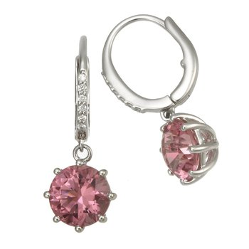 White Gold Pink Tourmaline and Diamond Drop Earrings