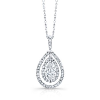 White Gold Pear Shape Diamond Double Halo Pendant with Chain