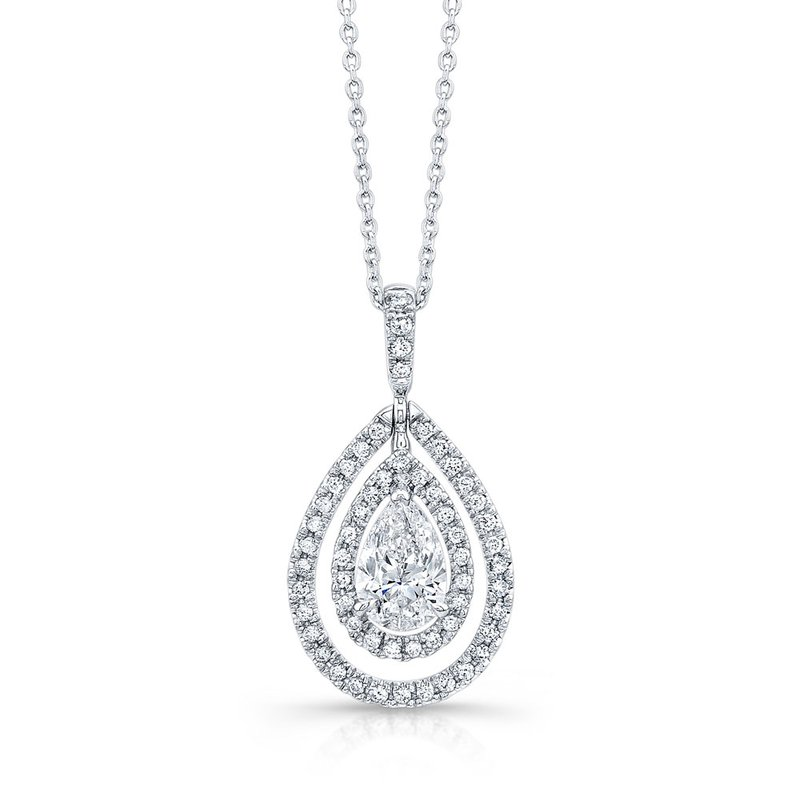 Norman Silverman White Gold Pear Shape Diamond Double Halo Pendant with Chain