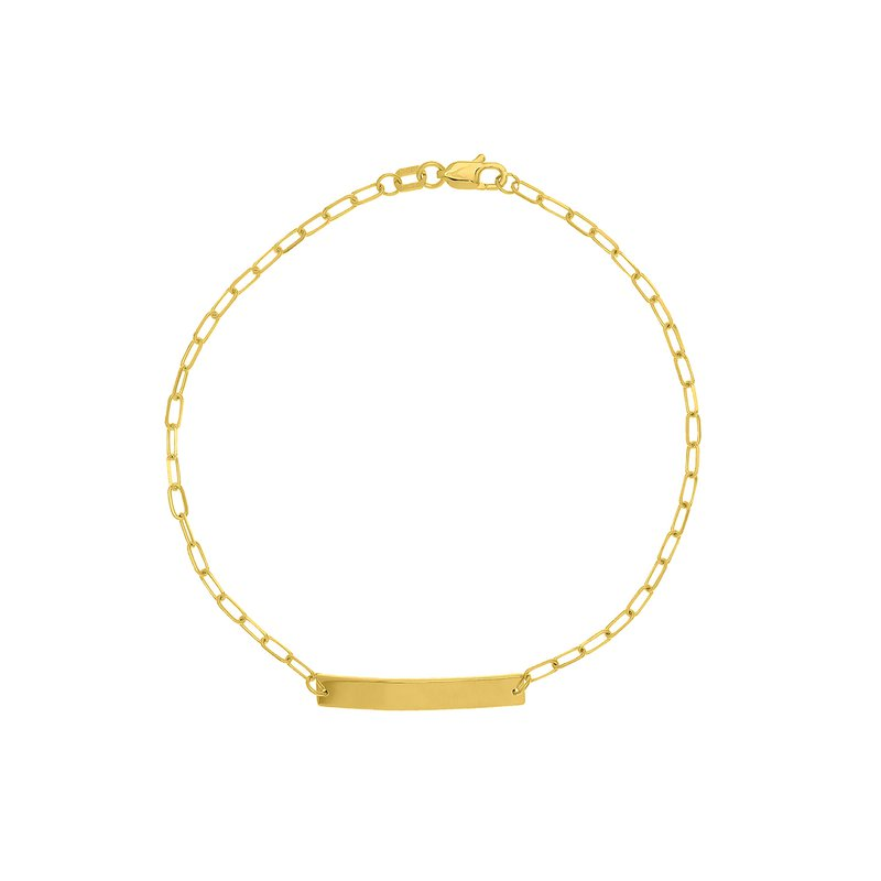 Devon Fashion Yellow Gold Child's ID Bracelet with Paperclip Chain