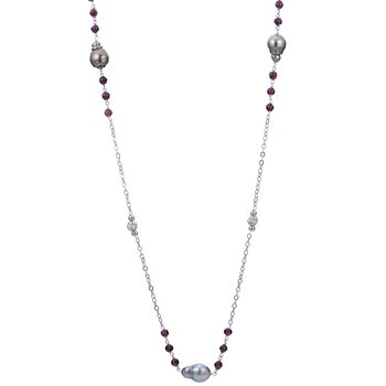 Sterling Silver Tahitian Baroque Pearl and Garnet Bead Necklace