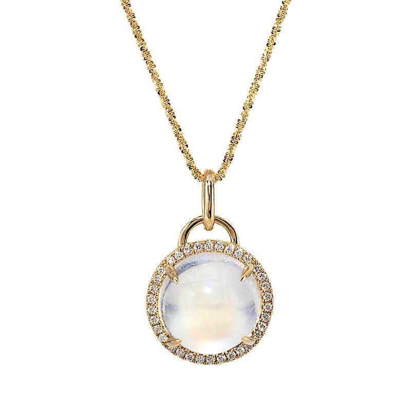 Devon Original Yellow Gold Moonstone and Diamond Pendant