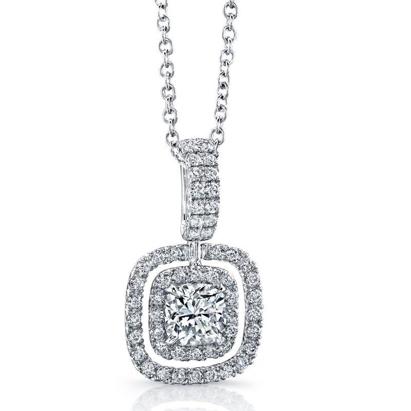 Norman Silverman White Gold Cushion Shape Diamond Double Halo Pendant with Chain