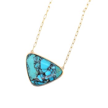 Yellow Gold Turquoise Paper Clip Necklace