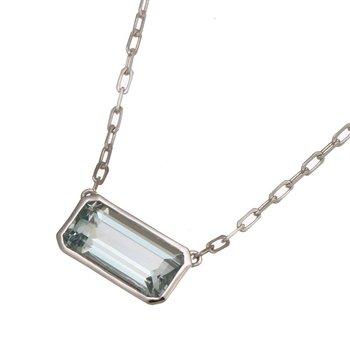 White Gold Aquamarine Necklace