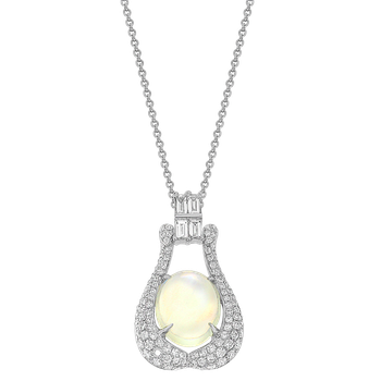 White Gold Moonstone and Diamond Pendant