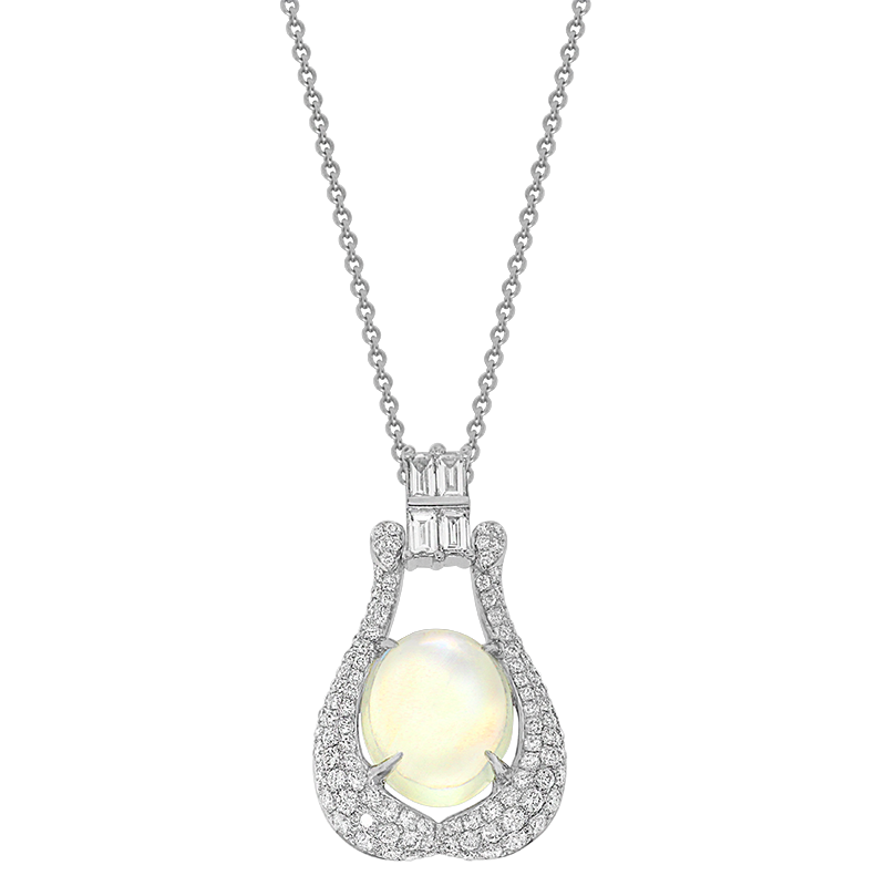 Spark Creations White Gold Moonstone and Diamond Pendant