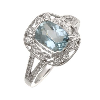 White Gold Aquamarine and Diamond Split Shank Ring