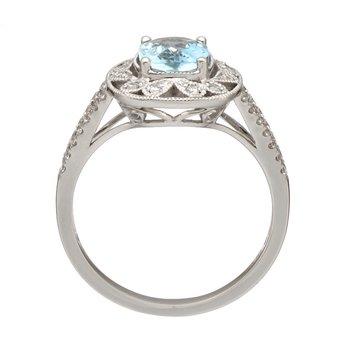 White Gold Aquamarine and Diamond Split Shank Ring
