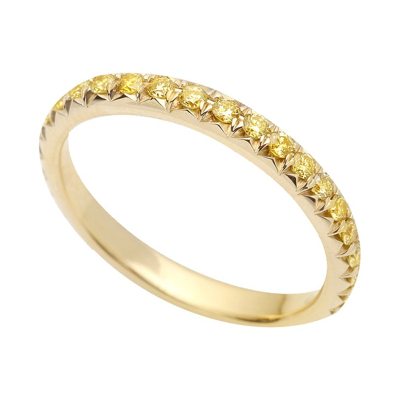 Superior Diamond Cutters Yellow Gold Eternity Band with Yellow Diamonds