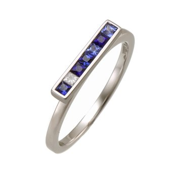 White Gold Sapphire and Diamond Bar Ring