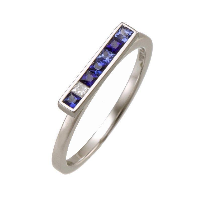 Devon Fashion White Gold Sapphire and Diamond Bar Ring